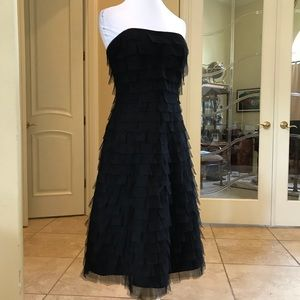 Betsy & Adam tulle strapless black party dress